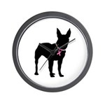 Bullterrier Breast Cancer Support Wall Clock