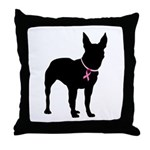 Bullterrier Breast Cancer Support Throw Pillow