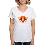 Wisdom Lotus in Orange Women's V-Neck T-Shirt