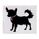 Chihuahua Breast Cancer Awareness Throw Blanket