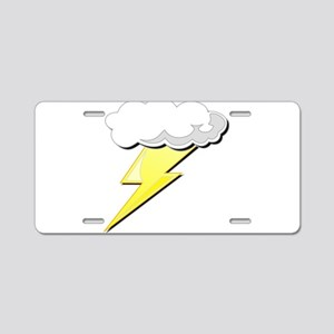 Lightning Bolt and Cloud Aluminum License Plate
