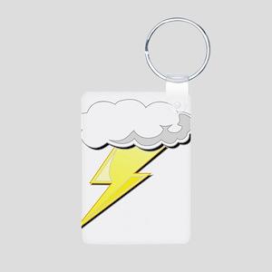 Lightning Bolt and Cloud Aluminum Photo Keychain