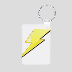 Simple Lightning Bolt Aluminum Photo Keychain