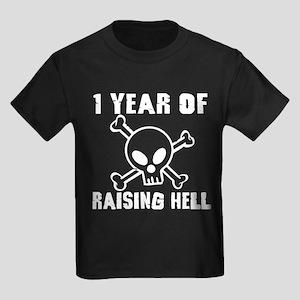 1 Year of Raising Hell Kids Dark T-Shirt