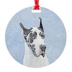 Great Dane (Harlequin) Round Ornament