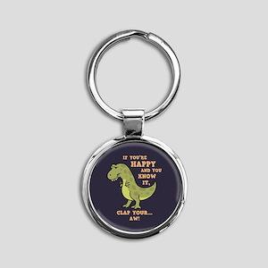 T-Rex Clap Ii Round Keychain Keychains