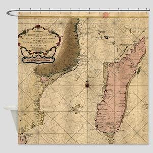 Vintage Map of Madagascar (1679) Shower Curtain