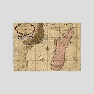Vintage Map of Madagascar (1679) 5'x7'Area Rug