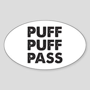 PUFF PUFF PASS Sticker (Oval)