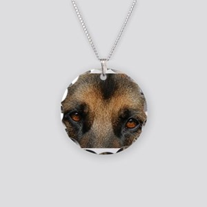 German Shepherd Eyes Necklace Circle Charm