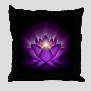 "Violet ""Crown"" Chakra Lotus Throw Pillow"