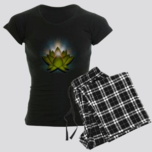 "Green ""Heart"" Chakra Lotus Women's Dark Pajamas"