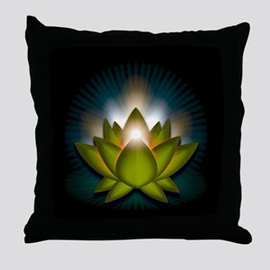 "Green ""Heart"" Chakra Lotus Throw Pillow"