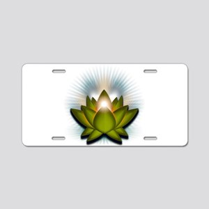 "Green ""Heart"" Chakra Lotus Aluminum License Plate"
