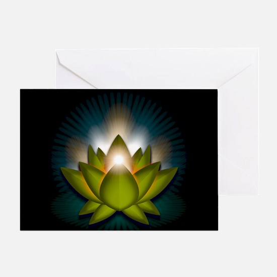 "Green ""Heart"" Chakra Lotus Greeting Card"