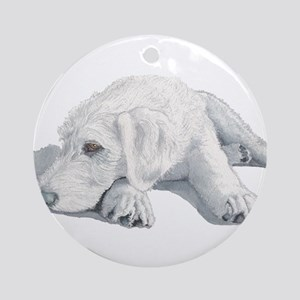 Sleepy Labradoodle Pup Ornament (Round)
