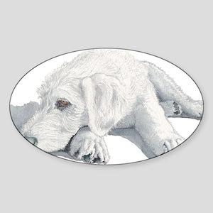 Sleepy Labradoodle Pup Sticker (Oval)