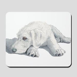 Sleepy Labradoodle Pup Mousepad