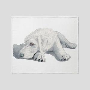 Sleepy Labradoodle Pup Throw Blanket