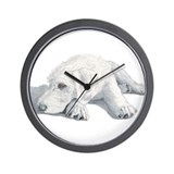 Cream labradoodle Wall Clocks