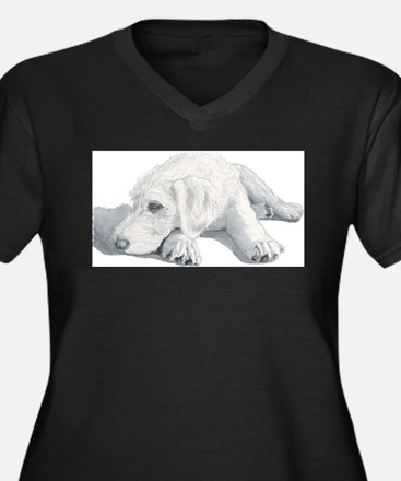 Sleepy Labradoodle Pup Women's Plus Size V-Neck Da