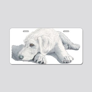 Sleepy Labradoodle Pup Aluminum License Plate