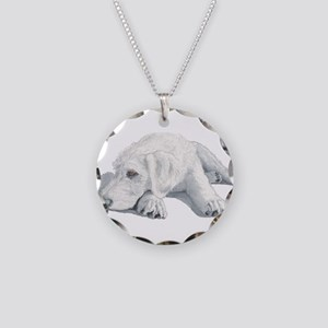 Sleepy Labradoodle Pup Necklace Circle Charm