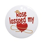 Rose Lassoed My Heart Ornament (Round)