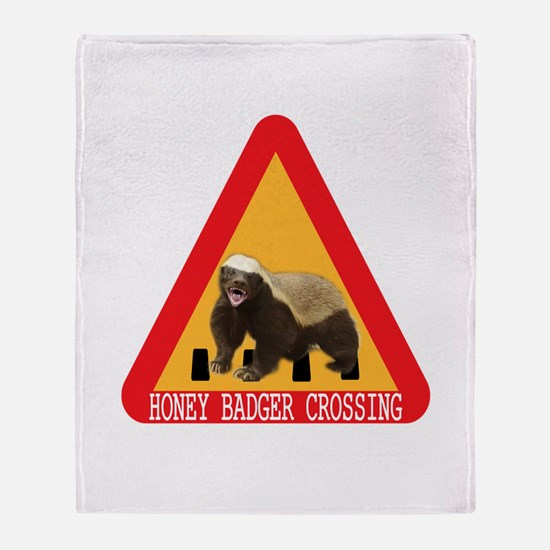 Honey Badger Crossing Sign Throw Blanket