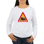 Honey Badger Crossing Sign Women's Long Sleeve T-S