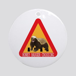 Honey Badger Crossing Sign Ornament (Round)