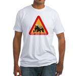 Honey Badger Crossing Sign Fitted T-Shirt