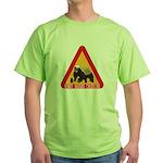 Honey Badger Crossing Sign Green T-Shirt