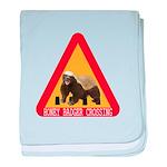 Honey Badger Crossing Sign baby blanket