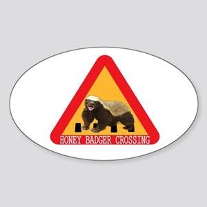 Honey Badger Crossing Sign Sticker (Oval)