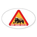Honey Badger Crossing Sign Sticker (Oval 50 pk)