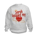 Sarah Lassoed My Heart Kids Sweatshirt
