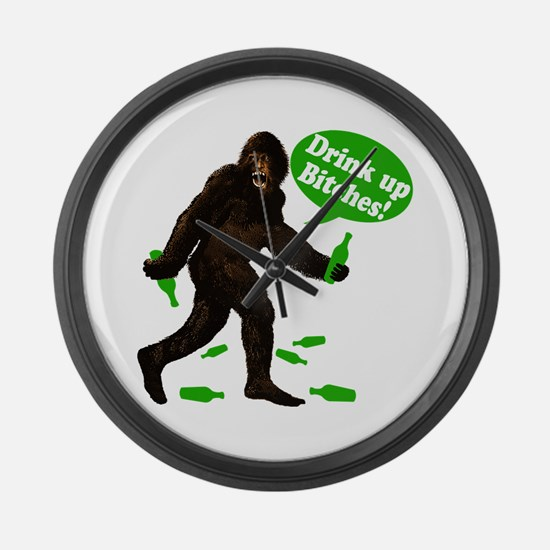 Drink Up Bitches Bigfoot Large Wall Clock