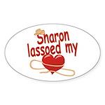 Sharon Lassoed My Heart Sticker (Oval)