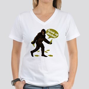 Drink Up Bitches Bigfoot Women's V-Neck T-Shirt