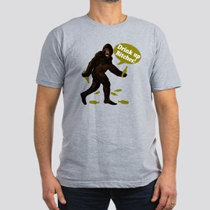 Drink Up Bitches Bigfoot Men's Fitted T-Shirt (dar