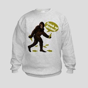 Drink Up Bitches Bigfoot Kids Sweatshirt