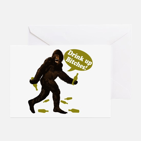 Drink Up Bitches Bigfoot Greeting Cards (Pk of 10)