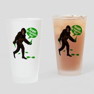 Happy St Patricks Day Bigfoot Drinking Glass