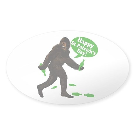 Happy St Patricks Day Bigfoot Sticker (Oval)