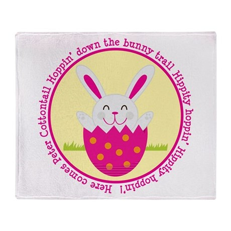 Peter Cottontail Girl Easter Throw Blanket
