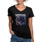 Stellar Unicorn Women's V-Neck Dark T-Shirt