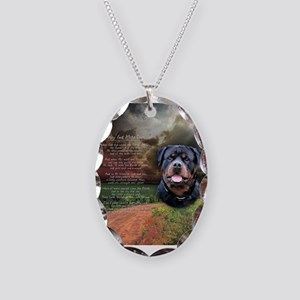 """Why God Made Dogs"" Rottweiler Necklace Oval Charm"