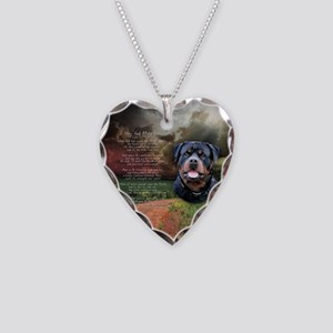 """Why God Made Dogs"" Rottweiler Necklace Heart Char"