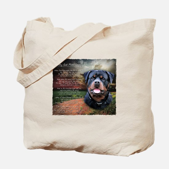 """""""Why God Made Dogs"""" Rottweiler Tote Bag"""